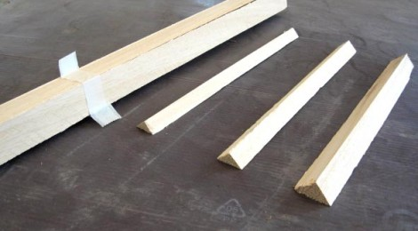 Smussi in legno in diverse dimensioni, prelegatura ogni 4 listelli con nastro in carta